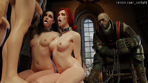 Rule 34 the witcher, the witcher 3, triss, triss merigold, yennefer, yennefer of vengerberg
